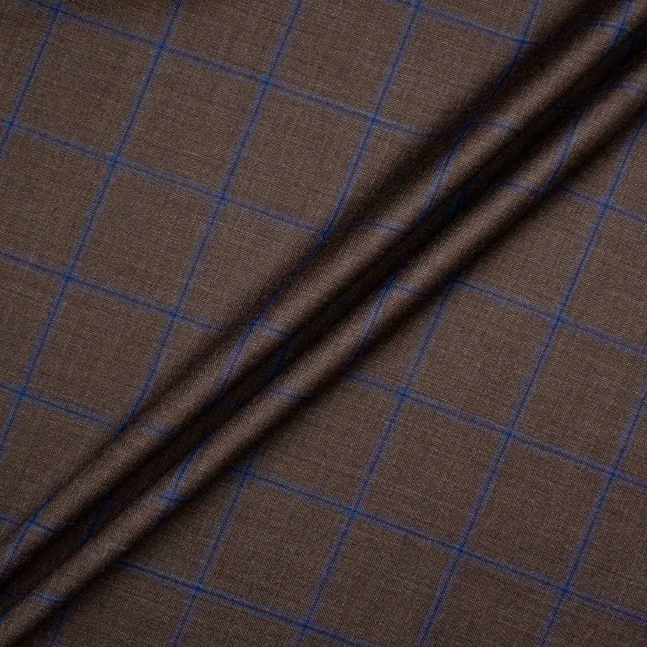 Tobacco Brown & Blue Checkered Extrafine Wool Suiting