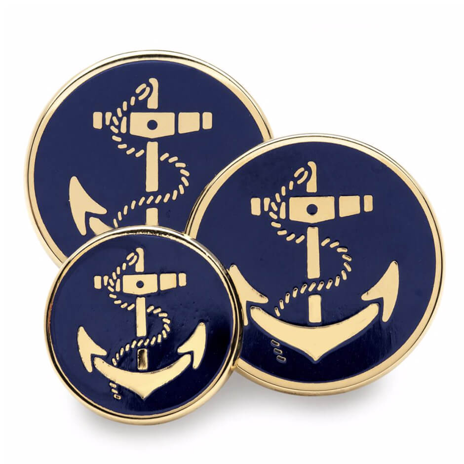 Gold & Enamel 'Anchor' Single Breast Button Set