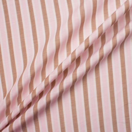 Pink/Brown/White Candy Striped Linen