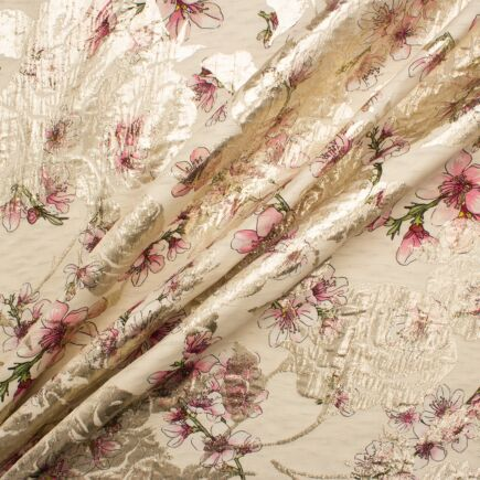 Pink Floral Cream Silk Cloqué