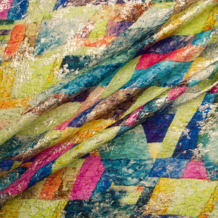 Multi-Coloured 'Patchwork' Metallic Silk Cloqué
