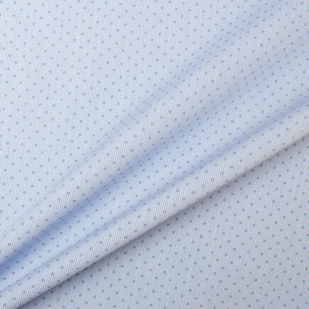 Blue 'Circle & Stripe' Printed Cotton Shirting