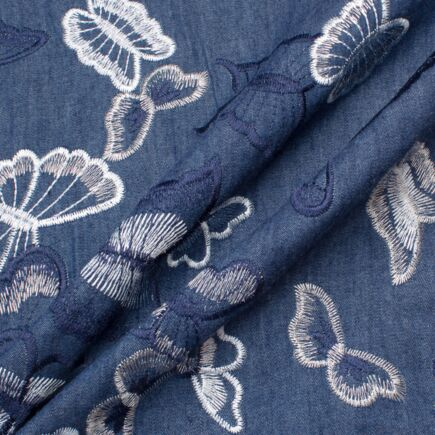 Butterfly Embroidered Blue Denim