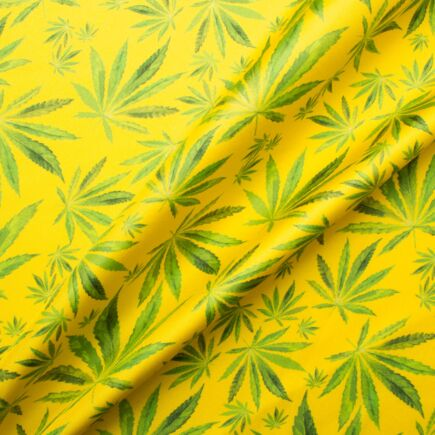 Cannabis Printed Yellow Silk Twill