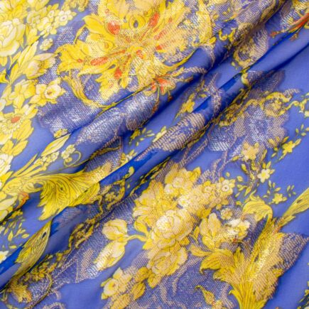 Golden Yellow & Blue Printed Silk Metallic Jacquard