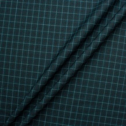 Dark Teal Graph Checkered Pure Wool Suiting