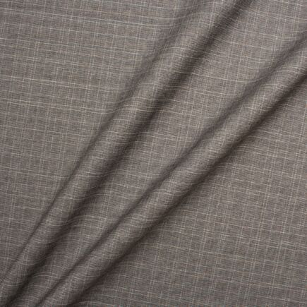 Grey Fine Checkered Superfine Pure Wool