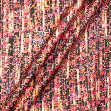 Pink, Orange & Black Bouclé Printed Silk Twill