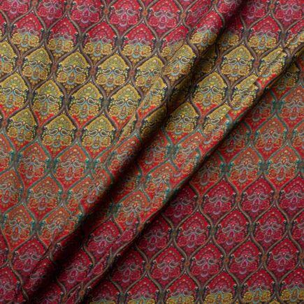 Rainbow Geo Paisley Printed Pure Silk Twill Fabric