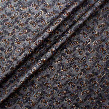 Grey & Burnt Orange Paisley Printed Silk Twill Fabric