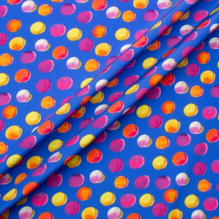 Multi Coloured Azure Blue Printed Silk Jacquard Fabric