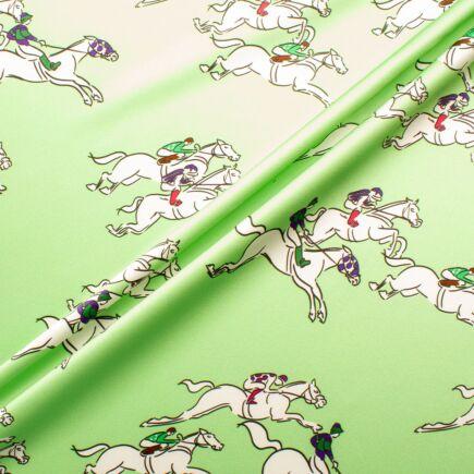 Horse Racing Themed Apple Green Pure Silk Satin Fabric