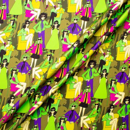 Green & Pink Posing Ladies Printed Pure Silk Twill