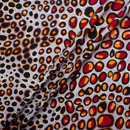 Black Abstract Circled Lilac Silk Jacquard