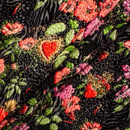 Multi Floral & Black Animal Devoré Velvet