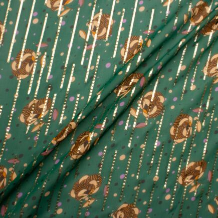 Floral Printed Gold Lamé Fern Green Silk Chiffon