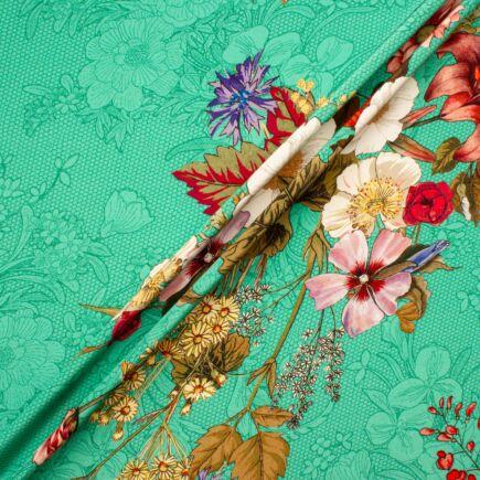 Multi Coloured Spearmint Green Silk Crêpe de Chine