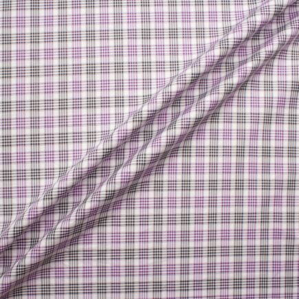 Purple & Black Quad Checkered Cotton Shirting