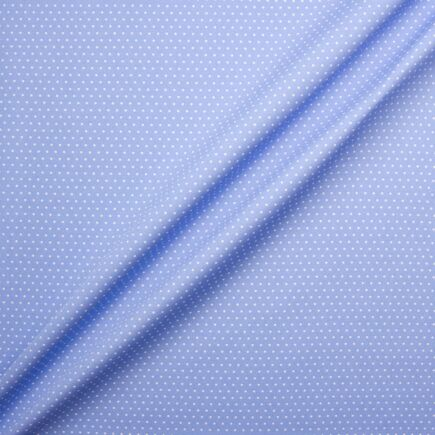 White Spot Printed Sky Blue Poplin Cotton Fabric