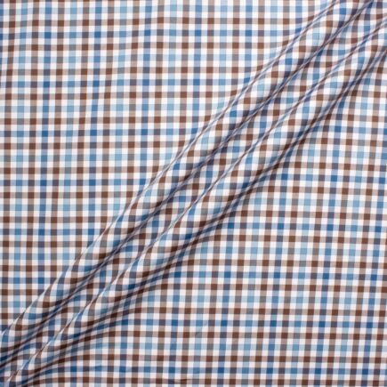 Blue & Brown Gingham Checkered Cotton Shirting