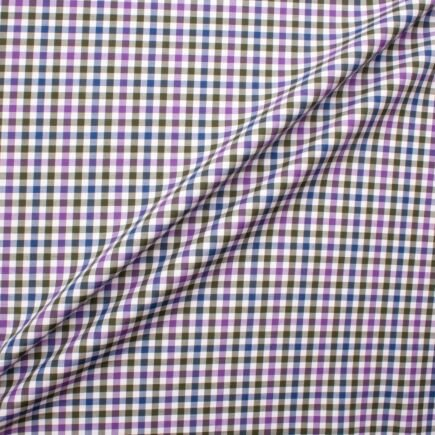 Grey, Blue & Purple Gingham Checkered Pure Cotton Shirting