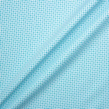 Turquoise Checkered Superfine Cotton Shirting Fabric