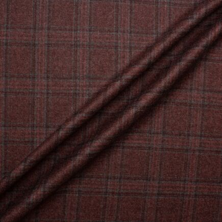 Bordeaux & Grey Checkered New Zealand Wool Suiting