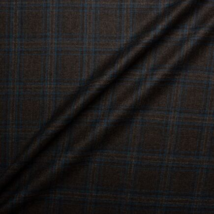 Brown & Rich Blue Pure New Zealand Checkered Wool