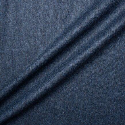 Two-Tone Blue Wool & Cashmere Herringbone Suiting
