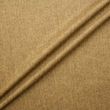 Camel Brown Wool & Cashmere Blend Herringbone Suiting