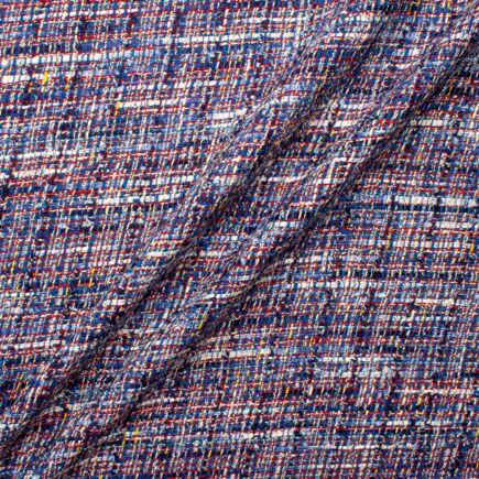 Blue, Red & Yellow Cotton Blend Bouclé Fabric