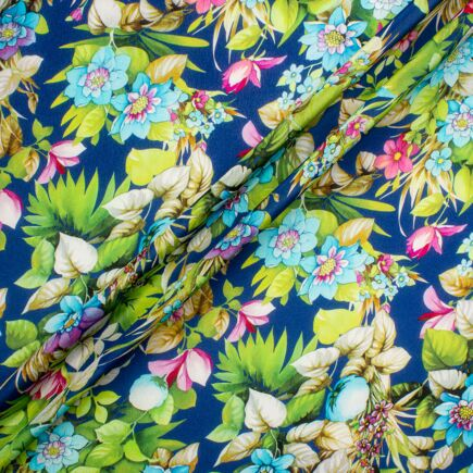 Floral Printed Ink Blue Pure Silk Crêpe de Chine Fabric