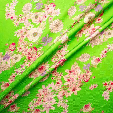 Dainty Pink Floral Printed Green Silk Twill