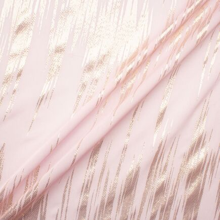 Gold Metallic & Ballet Pink Silk Georgette