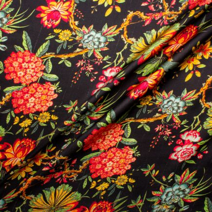Fuchsia & Orange Floral Printed Black Silk Twill