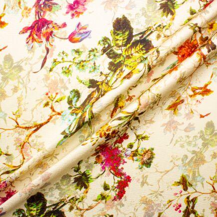 Floral Printed Vanilla Silk Jacquard
