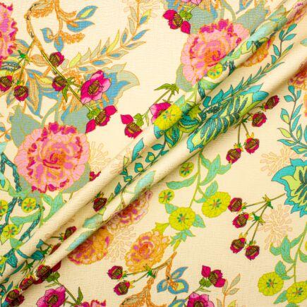 Radiant Floral Printed Cream Silk Jacquard