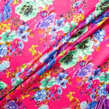 Multi Floral Printed Fuchsia Pink Silk Twill