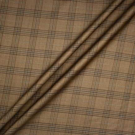 Mid Brown Checkered Cashmere & Silk Blend Suiting
