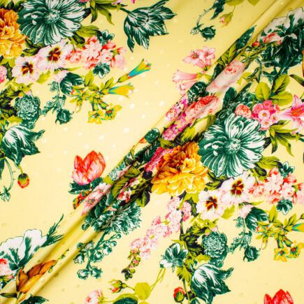 Bold Floral Printed Pure Silk Jacquard