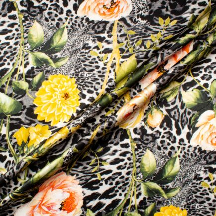 Floral & Grey Animal Printed Pure Silk Satin
