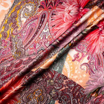 Pink/Red Floral & Orange Paisley Printed Silk Satin