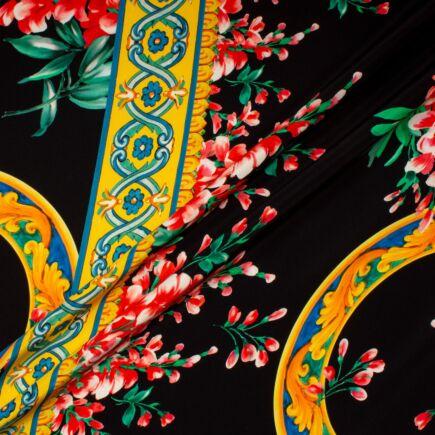 Delicate Red Floral Printed Black Silk