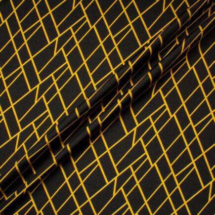 Golden Yellow Geometric Printed Black Pure Silk Twill