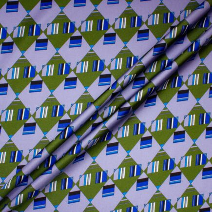 Army Green, Lilac, Blue Geo Printed Silk Twill