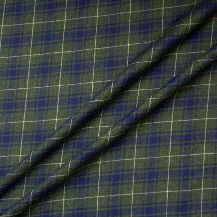 Dark Green & Blue Checkered Brushed Cotton