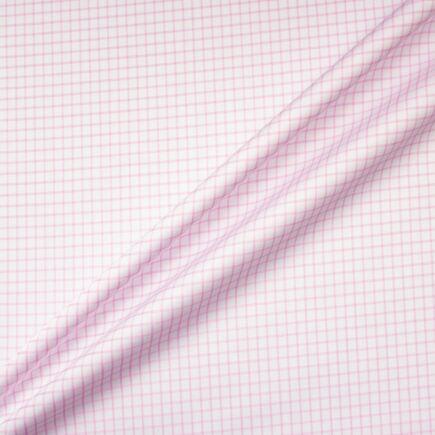 Pink Checkered White Luxury Cotton Shirting