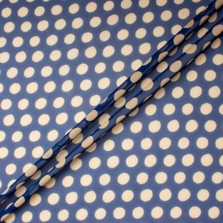 Champagne Spotted Blue Pure Silk Georgette