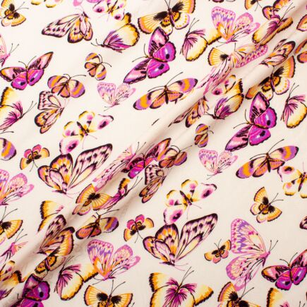 Pink & Yellow Butterfly Printed Ivory Silk Jacquard