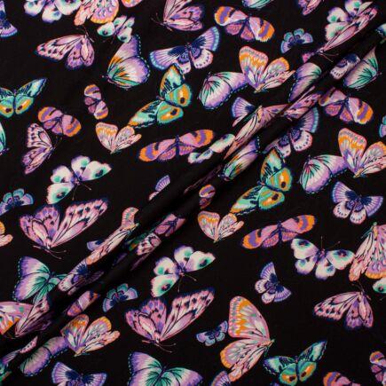 Multi-Coloured Butterfly Printed Black Silk Jacquard